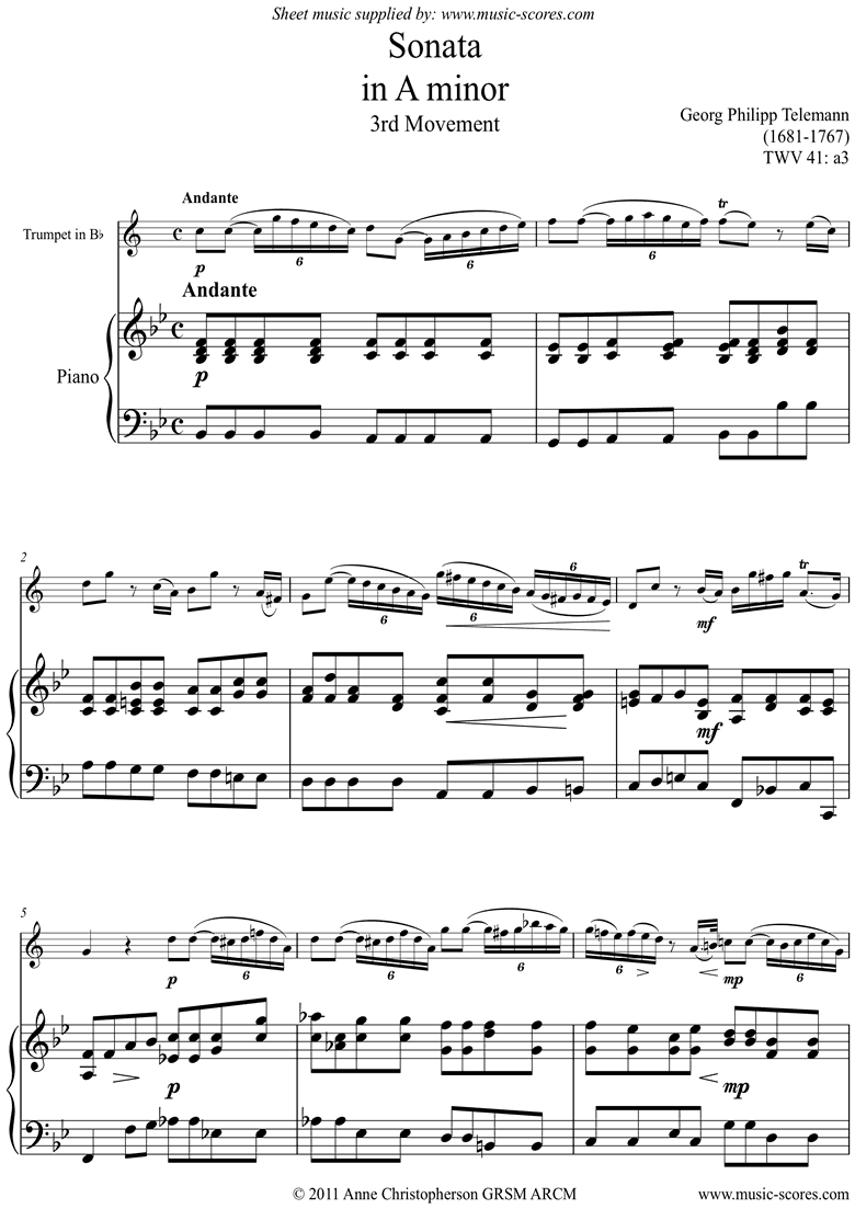 Front page of Sonata TWV41,a3 3rd mvt Trumpet sheet music