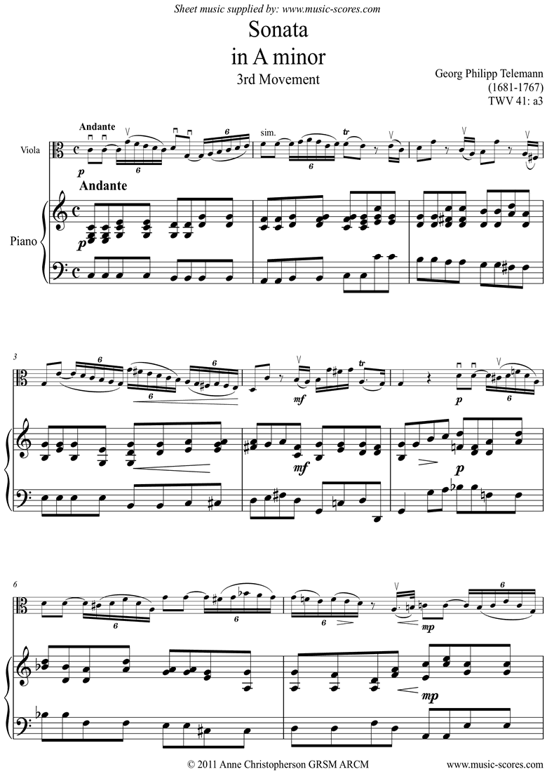 Front page of Sonata TWV41,a3 3rd mvt Viola sheet music