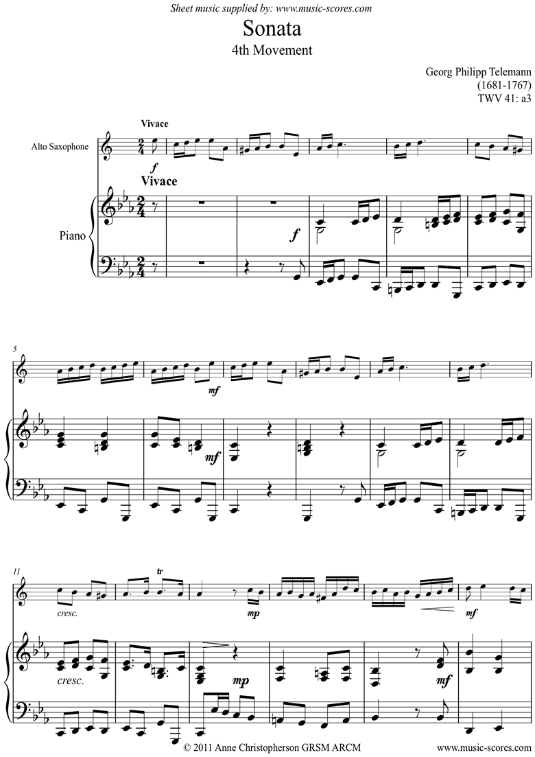 Front page of Sonata TWV41,a3 4th mvt Alto Sax sheet music