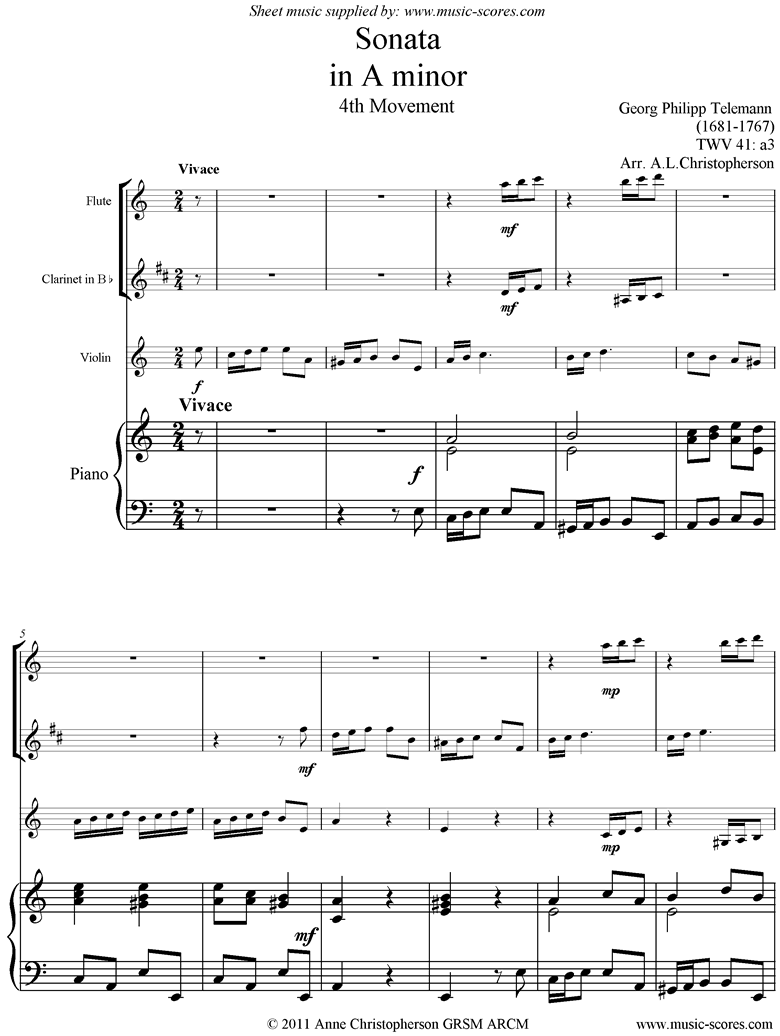 Front page of Sonata TWV41,a3 4th mvt Fl Cl Vn Pno sheet music