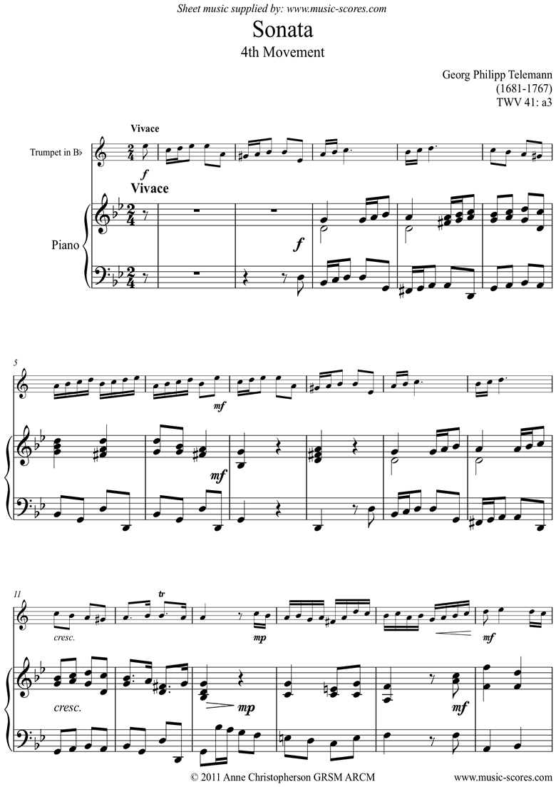 Front page of Sonata TWV41,a3 4th mvt Trumpet sheet music