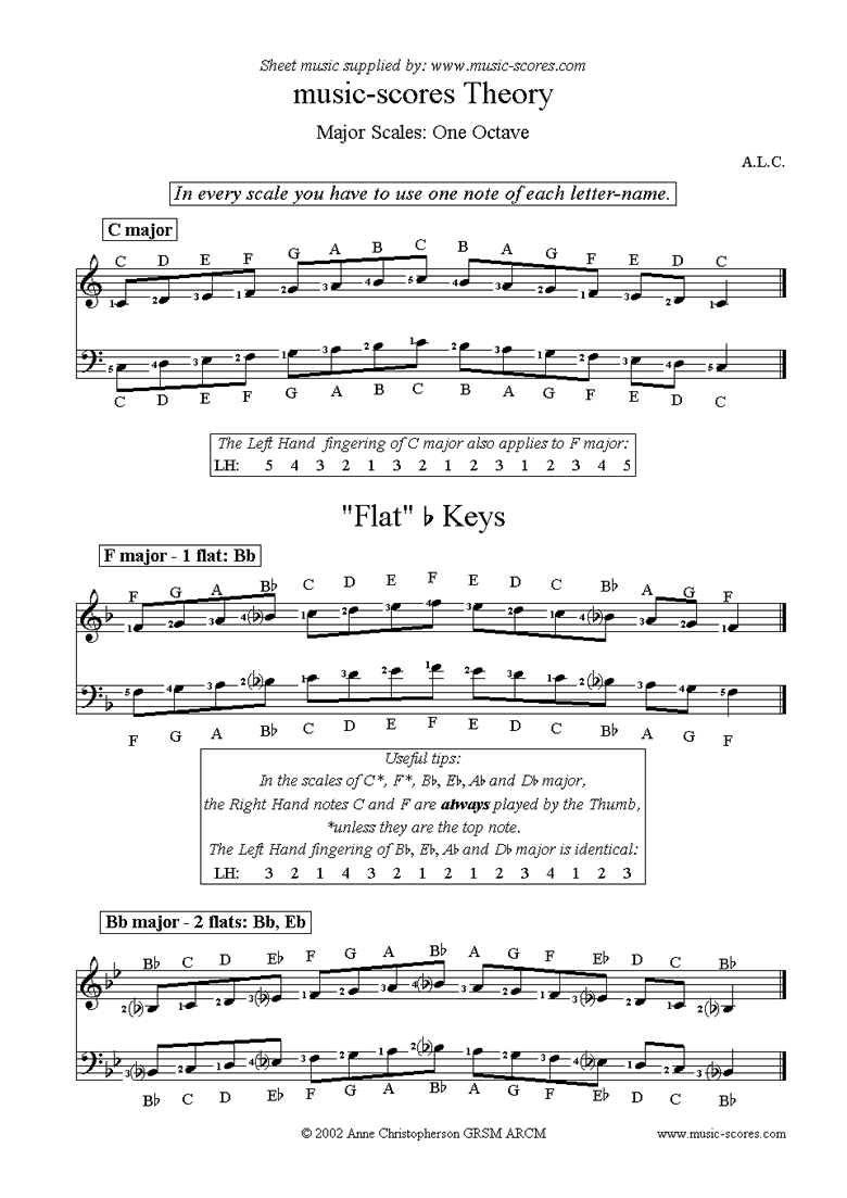 Front page of Major Scales: C, F, Bb, Eb. Ab, Db and Gb sheet music