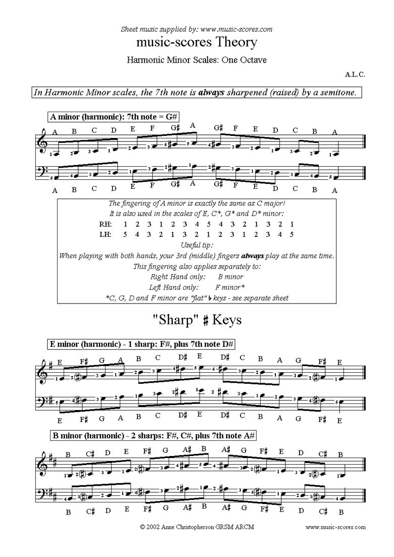 Front page of Harmonic Minor Scales: A, E, B, F#, C#, G# and D# sheet music