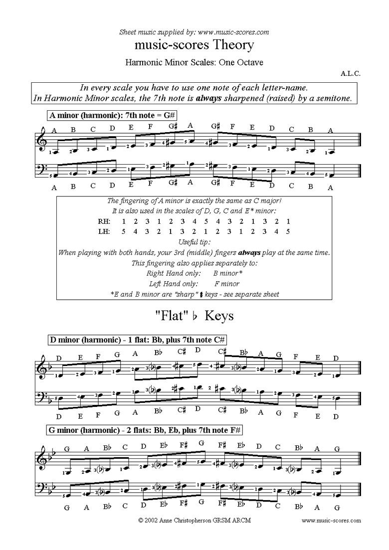 Front page of Harmonic Minor Scales: A, D, G, C, F, Bb and Eb sheet music