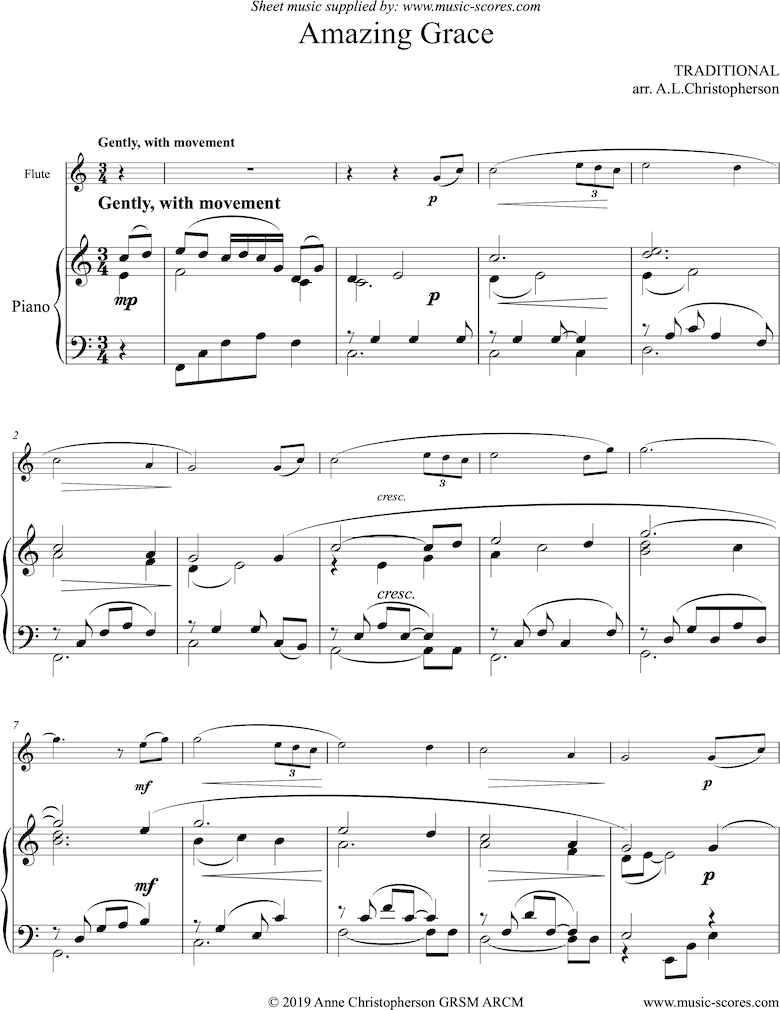 Front page of Amazing Grace: Flute and Piano sheet music