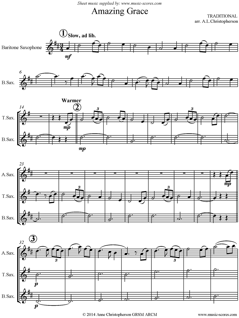 Front page of Amazing Grace: Sax 4: 5 mins sheet music