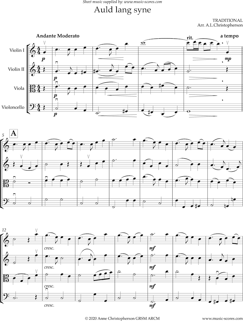 Front page of Auld Lang Syne: long: String Quartet sheet music