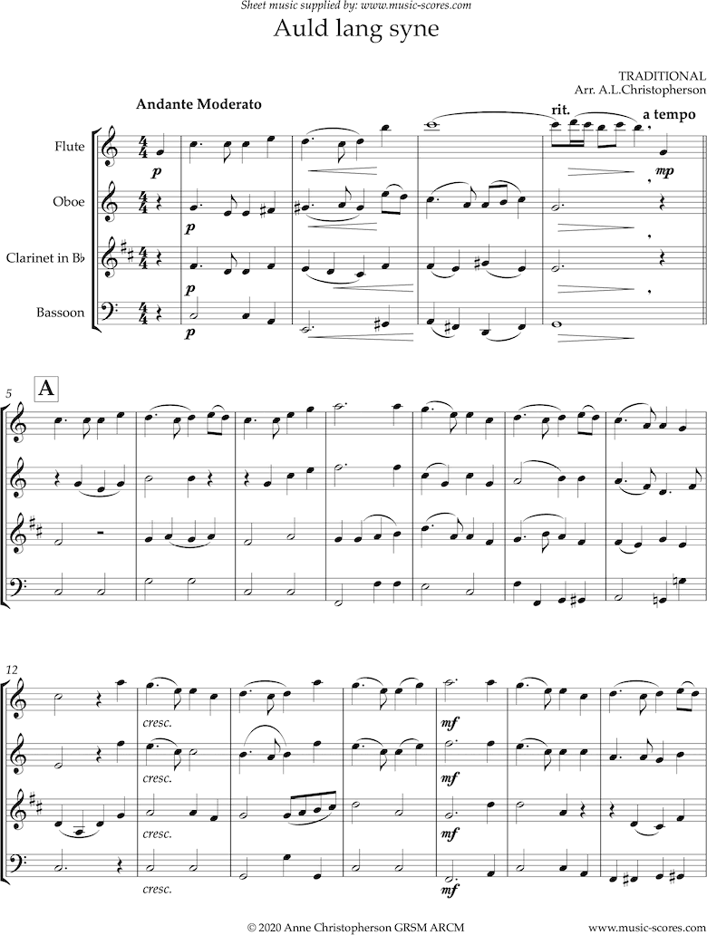 Front page of Auld Lang Syne: longer: Wind Quartet sheet music