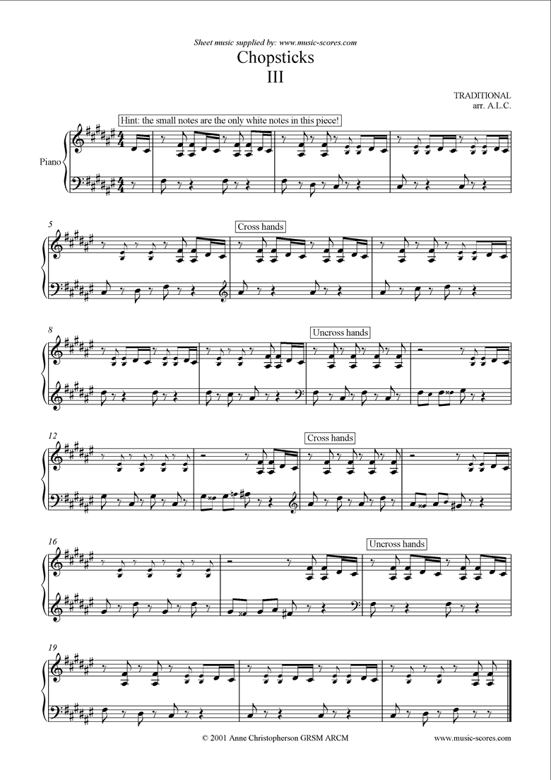 Front page of Chopsticks Version 3 sheet music