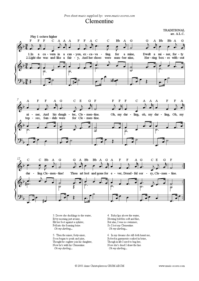 Front page of Oh my Darling Clementine sheet music