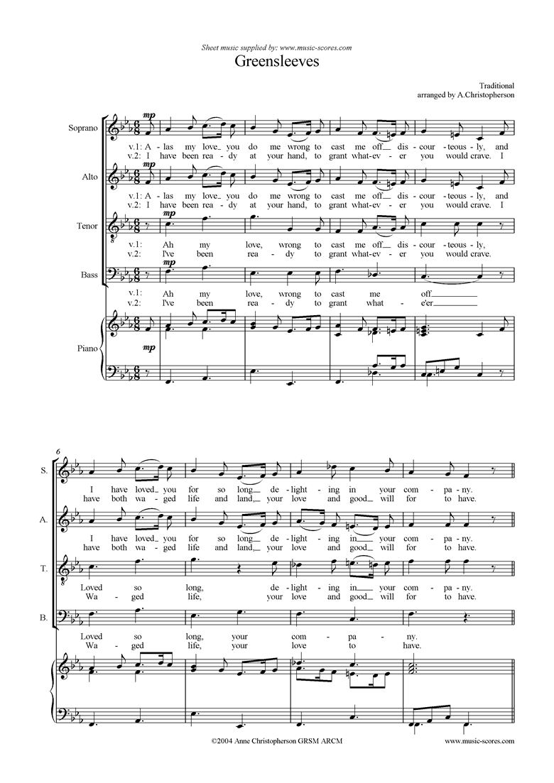 Front page of Greensleeves: Choir SATB sheet music
