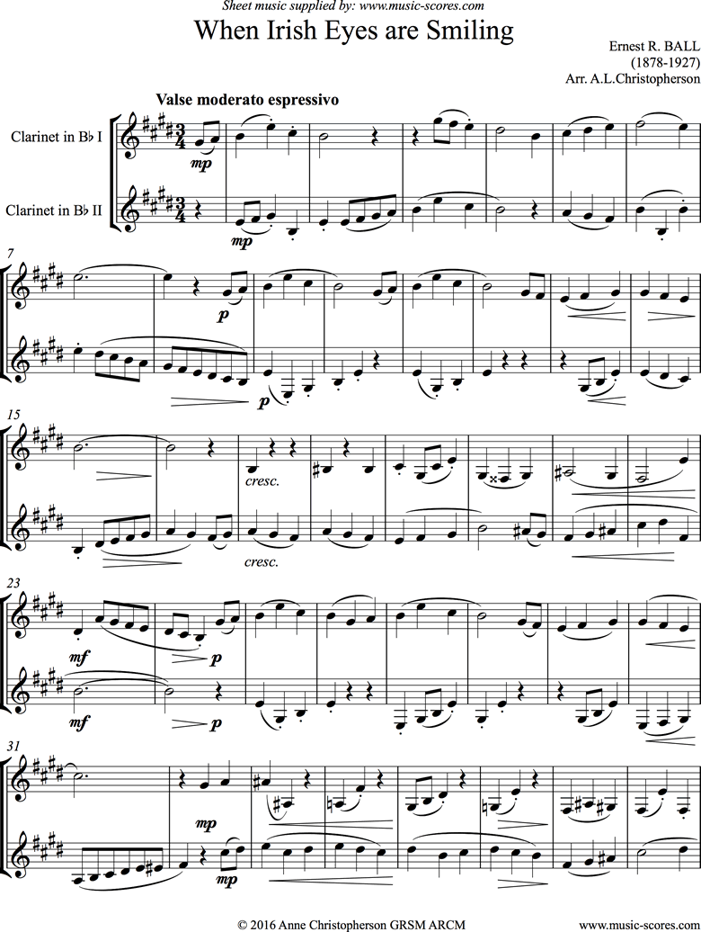 Front page of When Irish Eyes are Smiling: 2 Clarinets sheet music