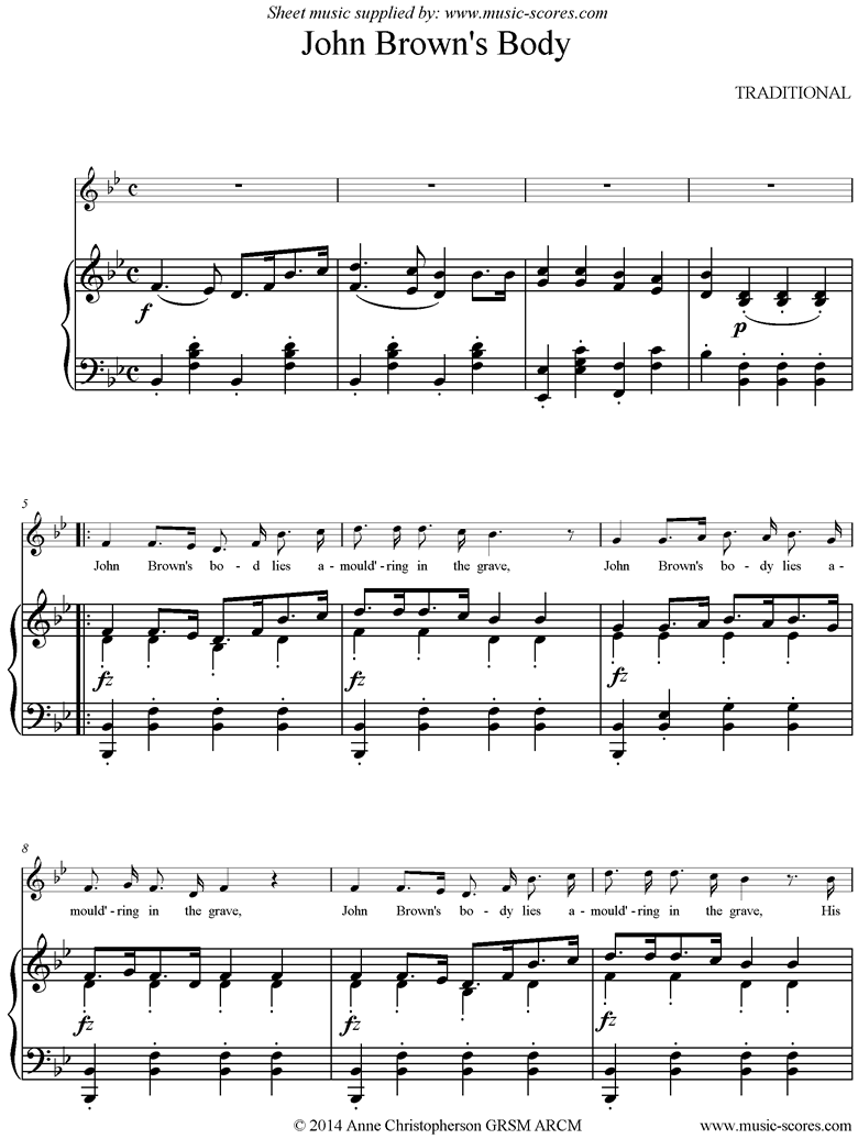 Front page of John Browns Body: Voice, Piano sheet music