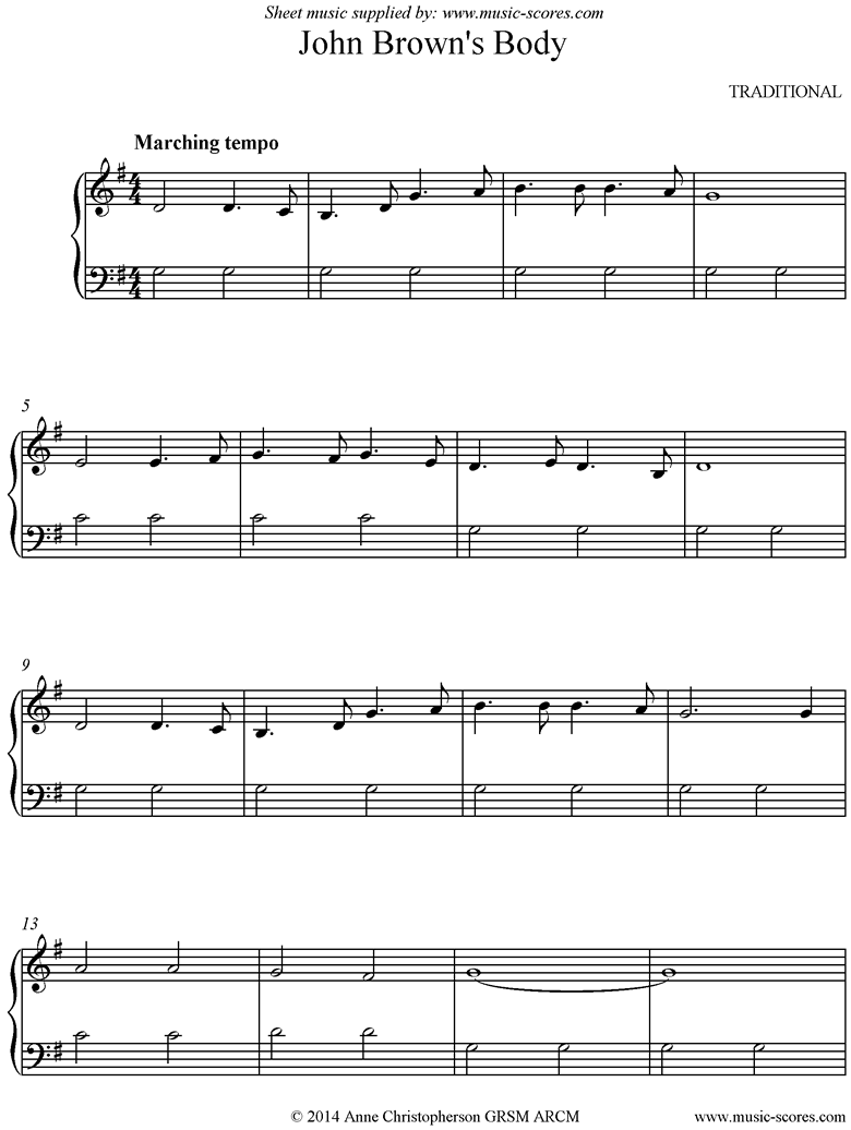 Front page of John Browns Body: easy version: Piano sheet music