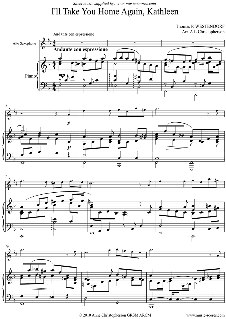 Front page of I will Take you Home Kathleen: Alto Sax sheet music