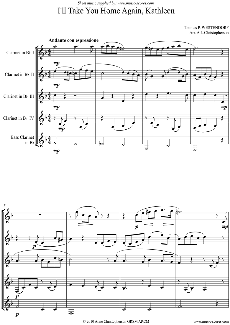 Front page of I will Take you Home Kathleen: Clarinet Quintet sheet music