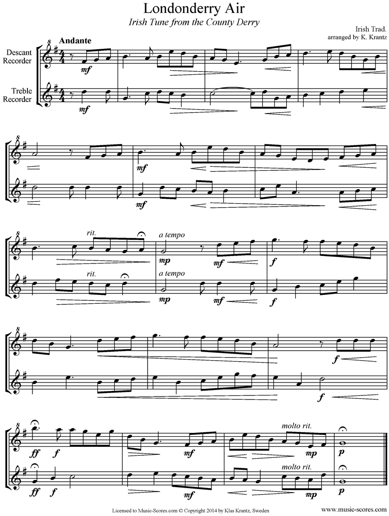 Front page of Danny Boy: I Cannot Tell: Londonderry Air: Descant, Treble Recorders sheet music