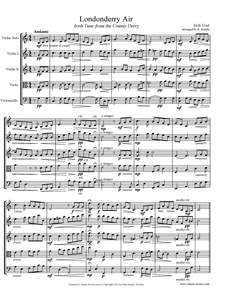 Front page of Danny Boy: I Cannot Tell: Londonderry Air: String Quartet sheet music