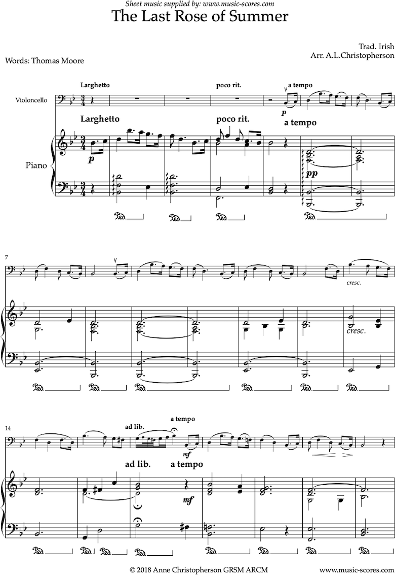 Front page of The Last Rose of Summer: Cello sheet music