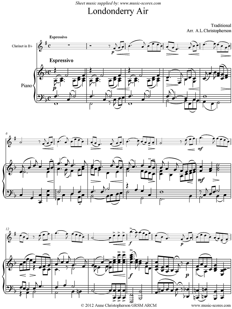 Front page of Danny Boy: I Cannot Tell: Londonderry Air: Clarinet and Piano sheet music