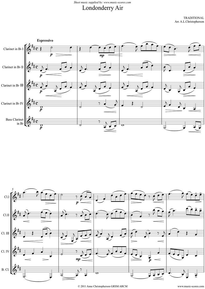 Front page of Danny Boy: I Cannot Tell: Londonderry Air: 4 Cls, Bass Cl sheet music