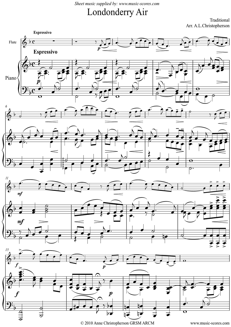 Front page of Danny Boy: I Cannot Tell: Londonderry Air: Flute and Piano sheet music