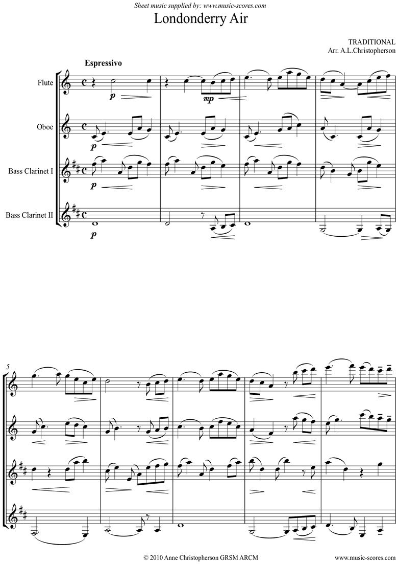 Front page of Danny Boy: I Cannot Tell: Londonderry Air: Flute, Oboe, 2 Bass Clarinets sheet music