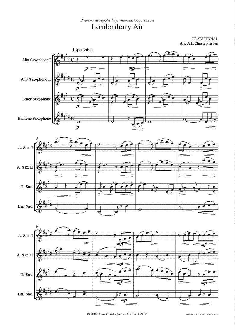 Danny Boy: I Cannot Tell: Londonderry Air: 2 Altos, Tenor and Baritone Sax by Traditional