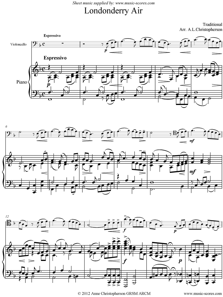 Front page of Danny Boy: I Cannot Tell: Londonderry Air: Cello and Piano sheet music