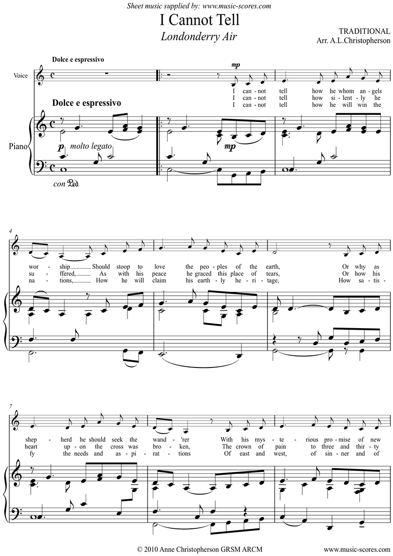 Front page of Danny Boy: I Cannot Tell: Londonderry Air: Voice sheet music