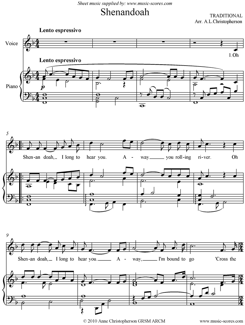 Front page of Shenandoah: Voice, higher sheet music