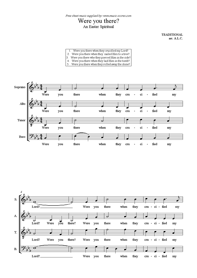 Front page of Were You There? sheet music