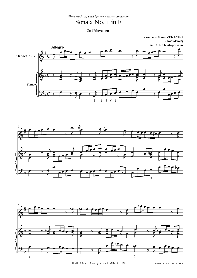 Front page of Sonata Prima: Clarinet, Piano sheet music