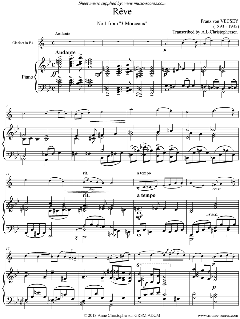 Front page of Reve: Clarinet, Piano sheet music