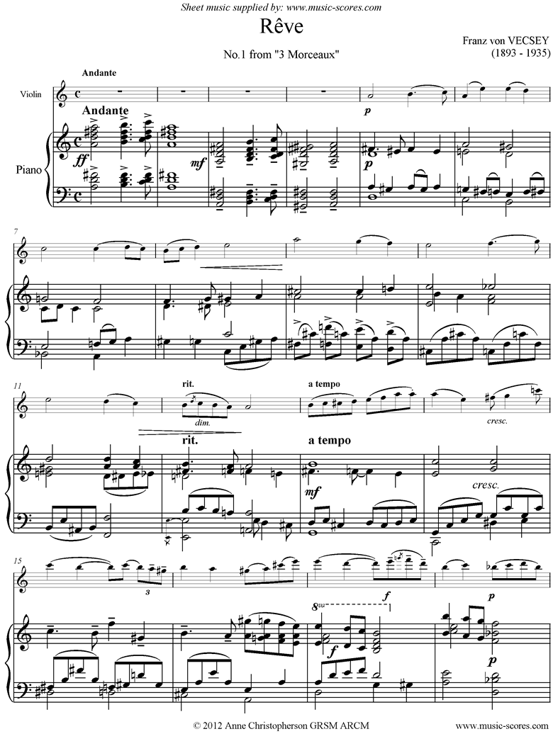 Front page of Reve: Violin, Piano sheet music