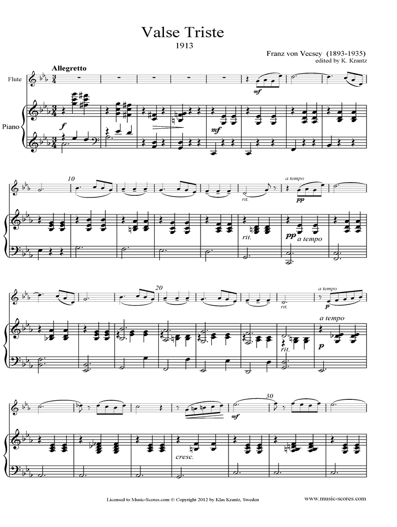 Front page of Valse Triste: Flute, Piano sheet music