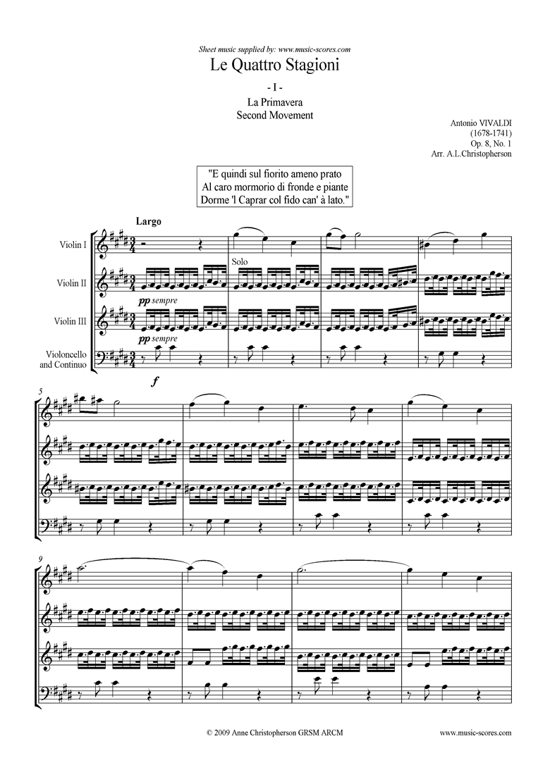 Front page of Op.8 No.1: The Four Seasons: Spring: 2nd mt 3VnsVc sheet music