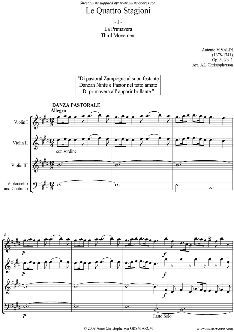 Front page of Op.8 No.1: The Four Seasons: Spring: 3rd mt 3VnsVc sheet music