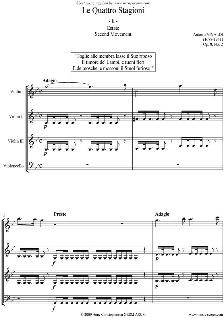 Front page of Op.8 No.2: The Four Seasons: Summer: 2nd mt 3VnsVc sheet music