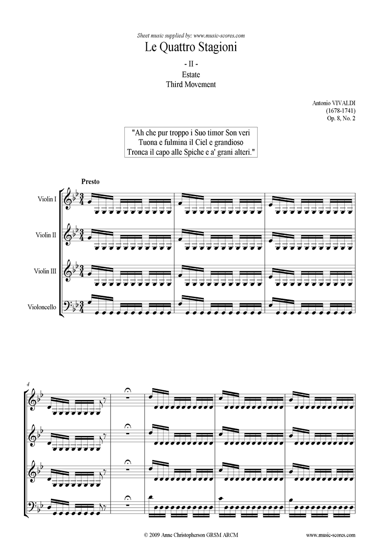 Front page of Op.8 No.2: The Four Seasons: Summer: 3rd mt 3VnsVc sheet music