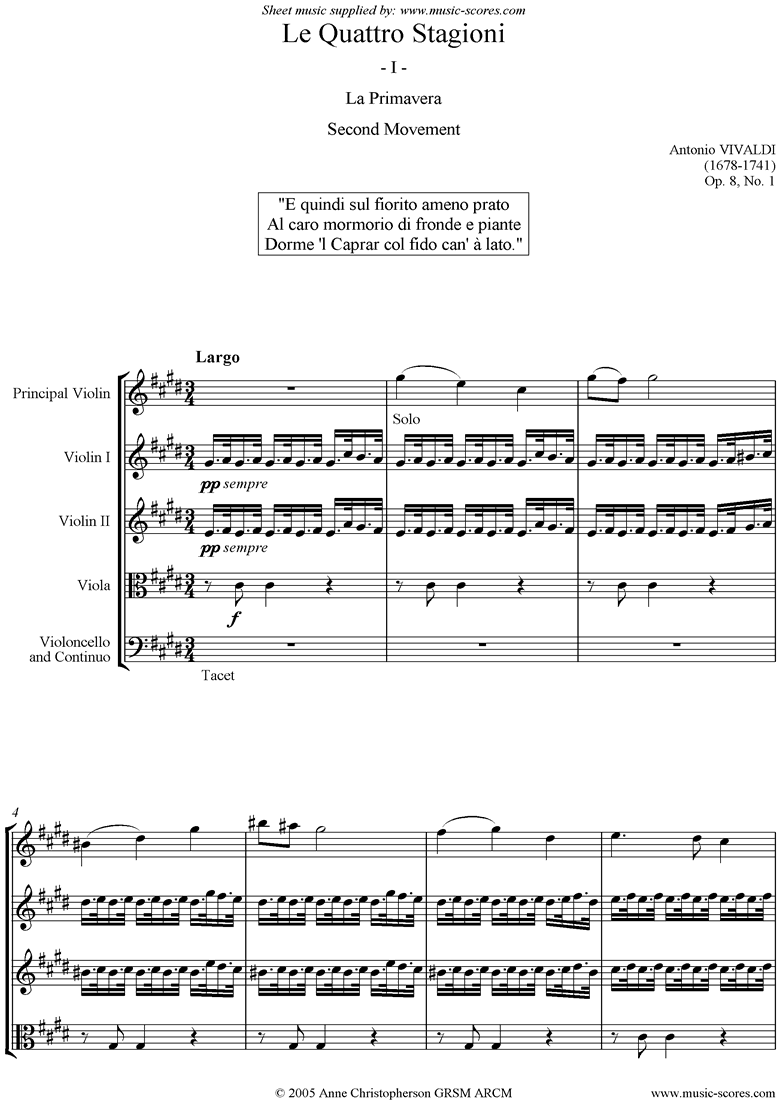 Front page of Op.8 No.1: The Four Seasons: Spring: 2nd mt: Strings sheet music