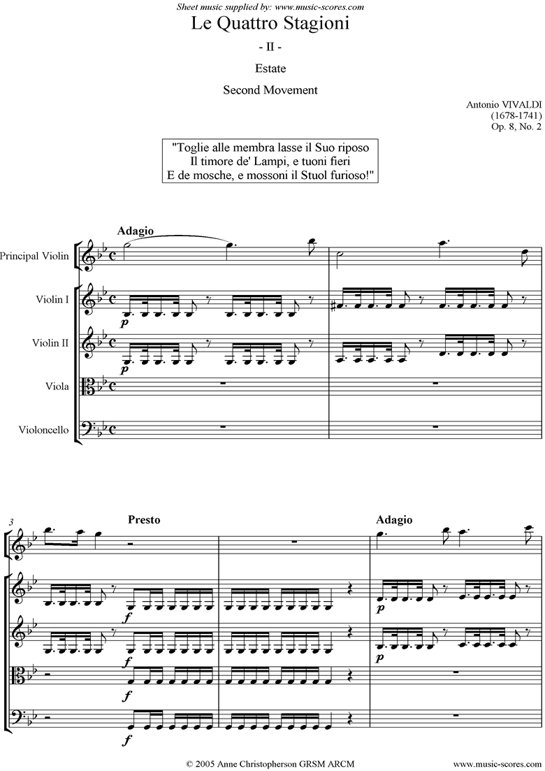 Front page of Op.8 No.2: The Four Seasons: Summer: 2nd mt:Strings sheet music
