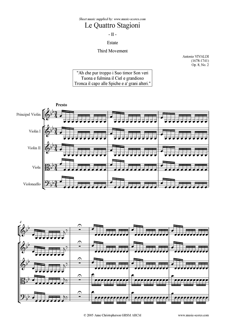 Front page of Op.8 No.2: The Four Seasons: Summer: 3rd mt:Strings sheet music