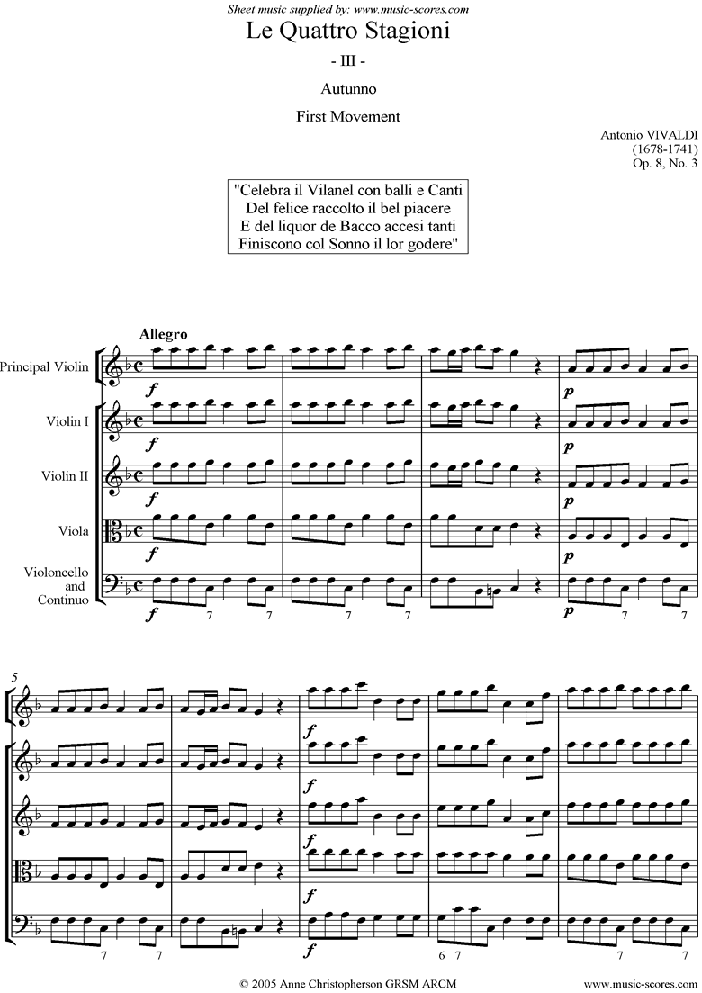 Front page of Op.8 No.3: The Four Seasons: Autumn: 1st mt:Strings sheet music