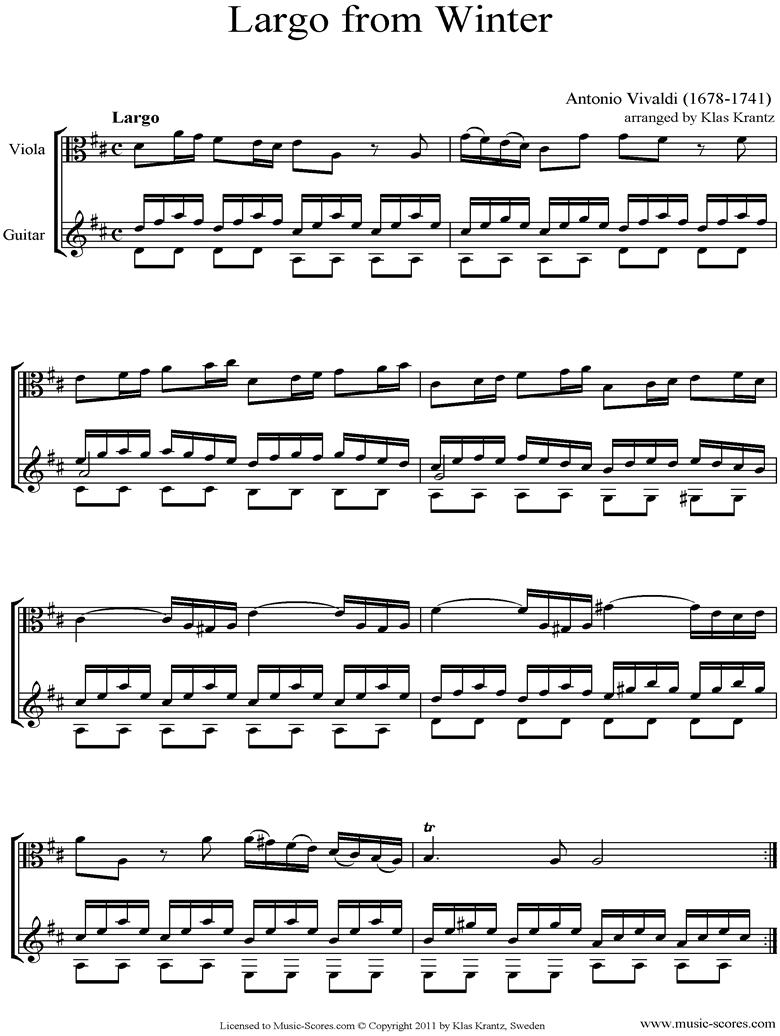 Op.8 No.4: The Four Seasons: Winter: 2nd mt: Viola, Guitar by Vivaldi