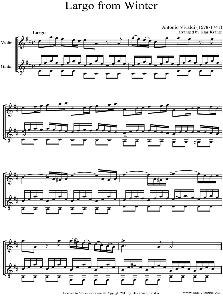 Front page of Op.8 No.4: The Four Seasons: Winter: 2nd mt: Violin, Guitar sheet music