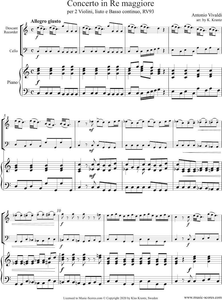 Front page of RV93: Concerto in D major: Descant Recorder, Cello and Piano. sheet music