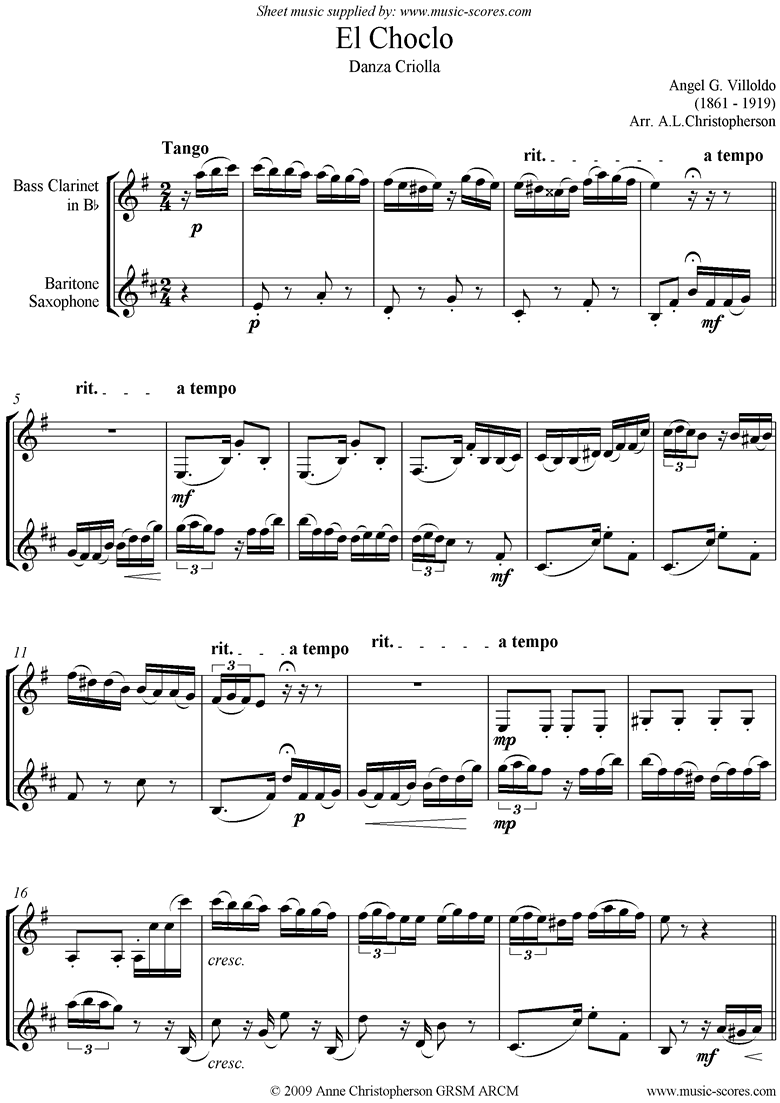 Front page of El Choclo: Danza Criolla: Bari Sax, Bass Clarinet sheet music