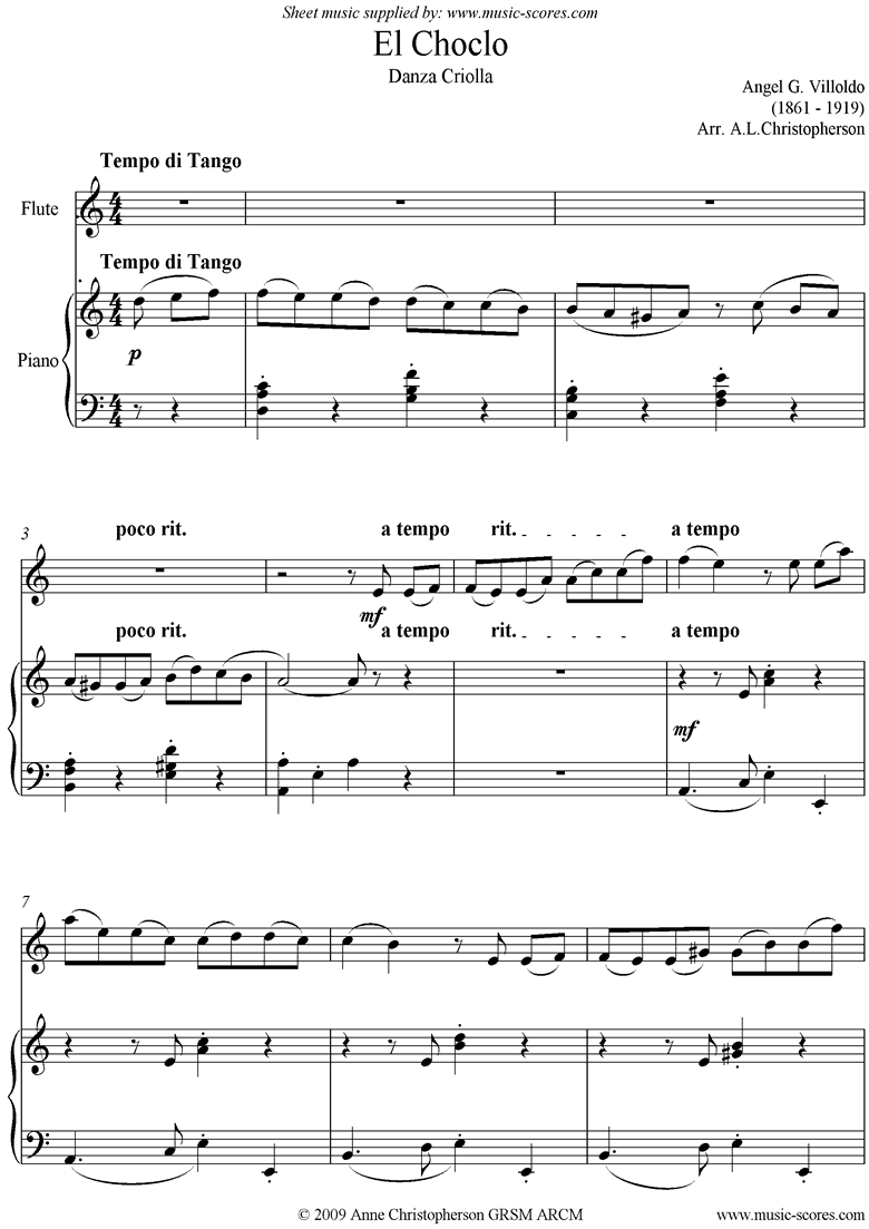 Front page of El Choclo: Danza Criolla: Easy Flute sheet music