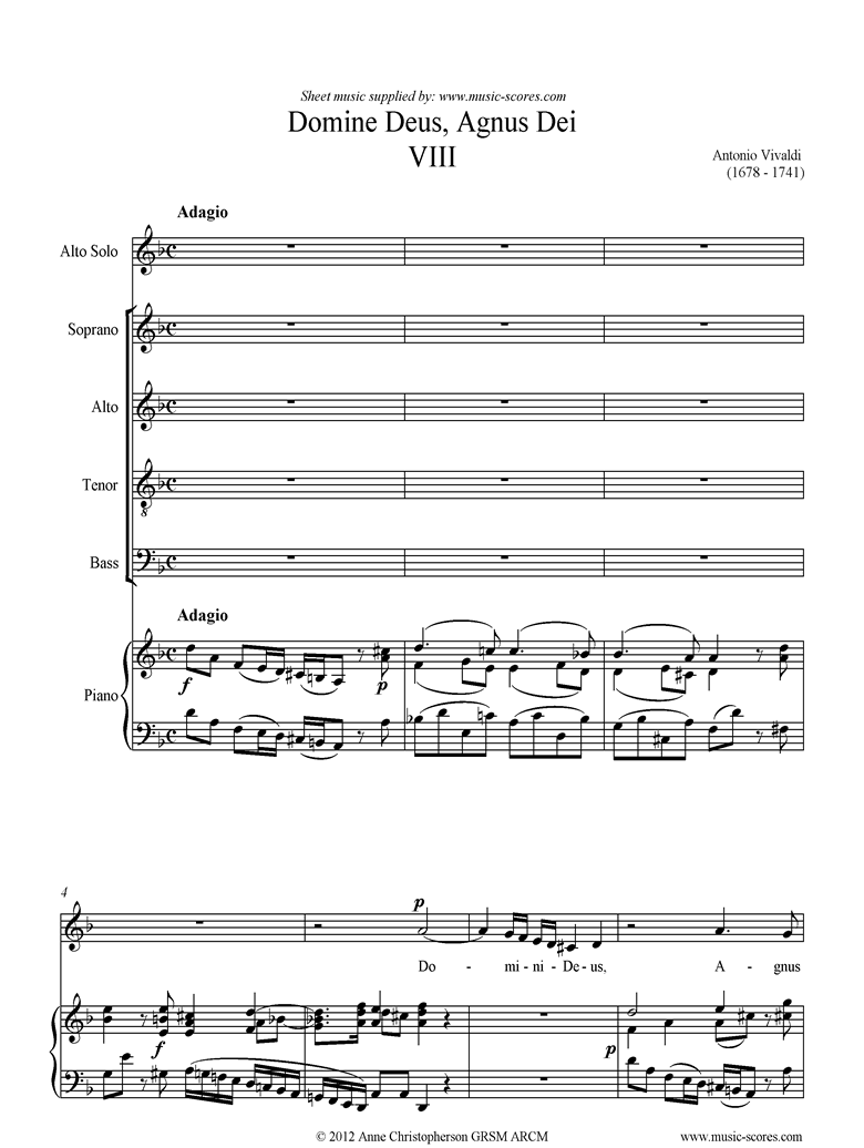 Front page of Gloria: RV589 No.08: Domine Deus, Agnus Dei: ASATB sheet music